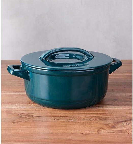 Teal Ceraflame Ceramic 7.4 Quart Pot with Lid