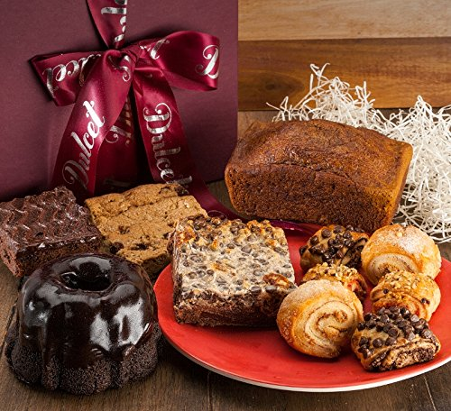 Dulcet Gourmet Food Gift Baskets includes: Chocolate Mini Bundt, Rocky Road Fudge Brownie, Chocolate Chip Brownie, Chocolate Chip Blondie, Pumpkin Mini Loaf, and Assorted Rugelach. Great gifts!