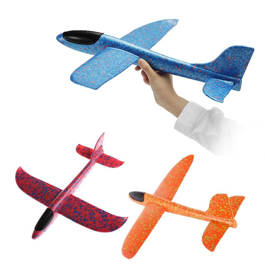 BraveWind 3 PCS 13.5inch Foam Airplane Throwing Foam Glider Airplane Manual Inertia Airplane Outdoor Manual Throwing Toy,COLOR RANDOM