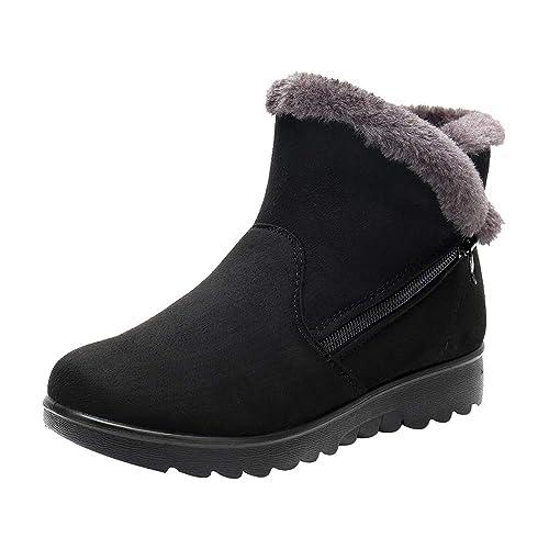 ... Nieve para Mujer Zapatos Botas Amortiguar Caminar Gamuza sintética  Calentar Forrado de Piel Casual Comodidad Tobillo  Amazon.es  Zapatos y  complementos 6c9e9c1a8415e