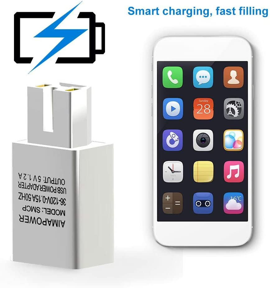 Portable Universal Electric Motorcycle E-Bike Mobile Phone USB Charger Adapter Sockets 36V-150V//1.2A 2A Fast Charging 2A White