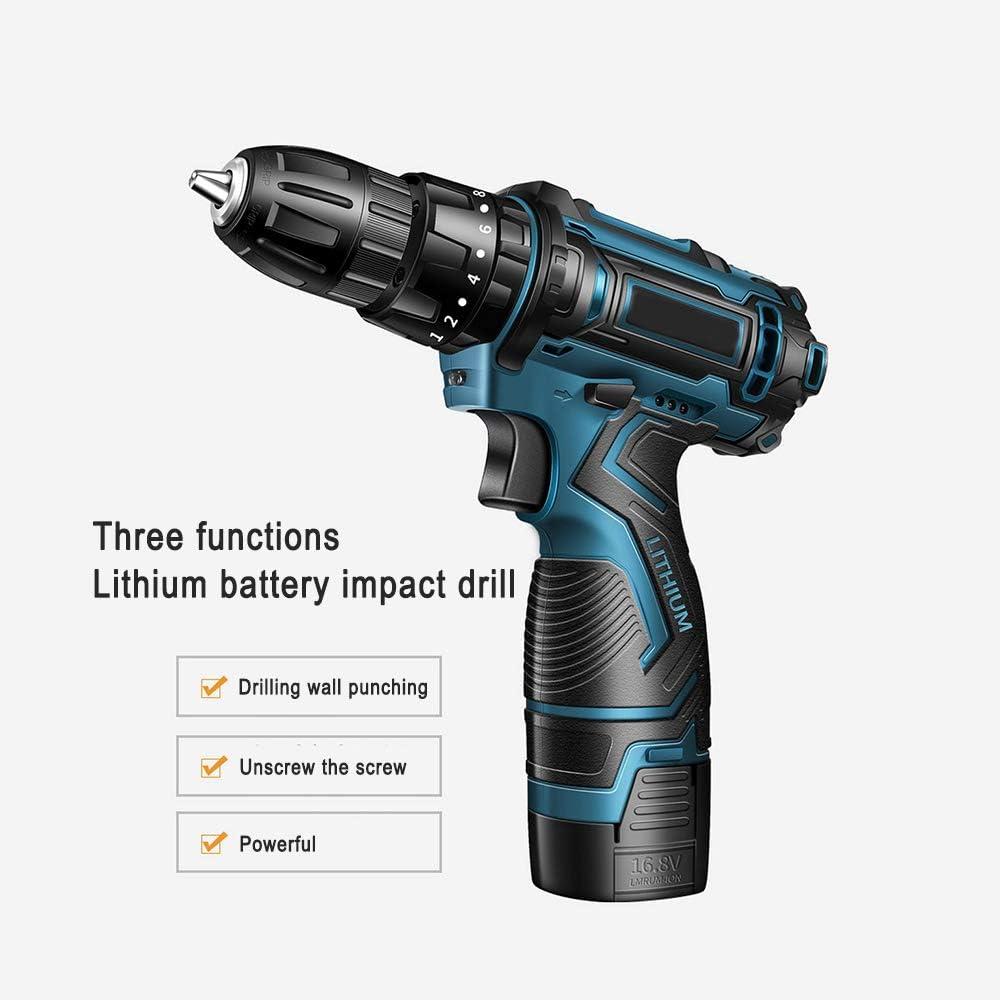 Taladro atornillador inalámbrico de 16,8 V, con luz de trabajo LED, taladro percutor con 2 indicadores de batería, adecuado para hormigón, azulejos, orificios metálicos