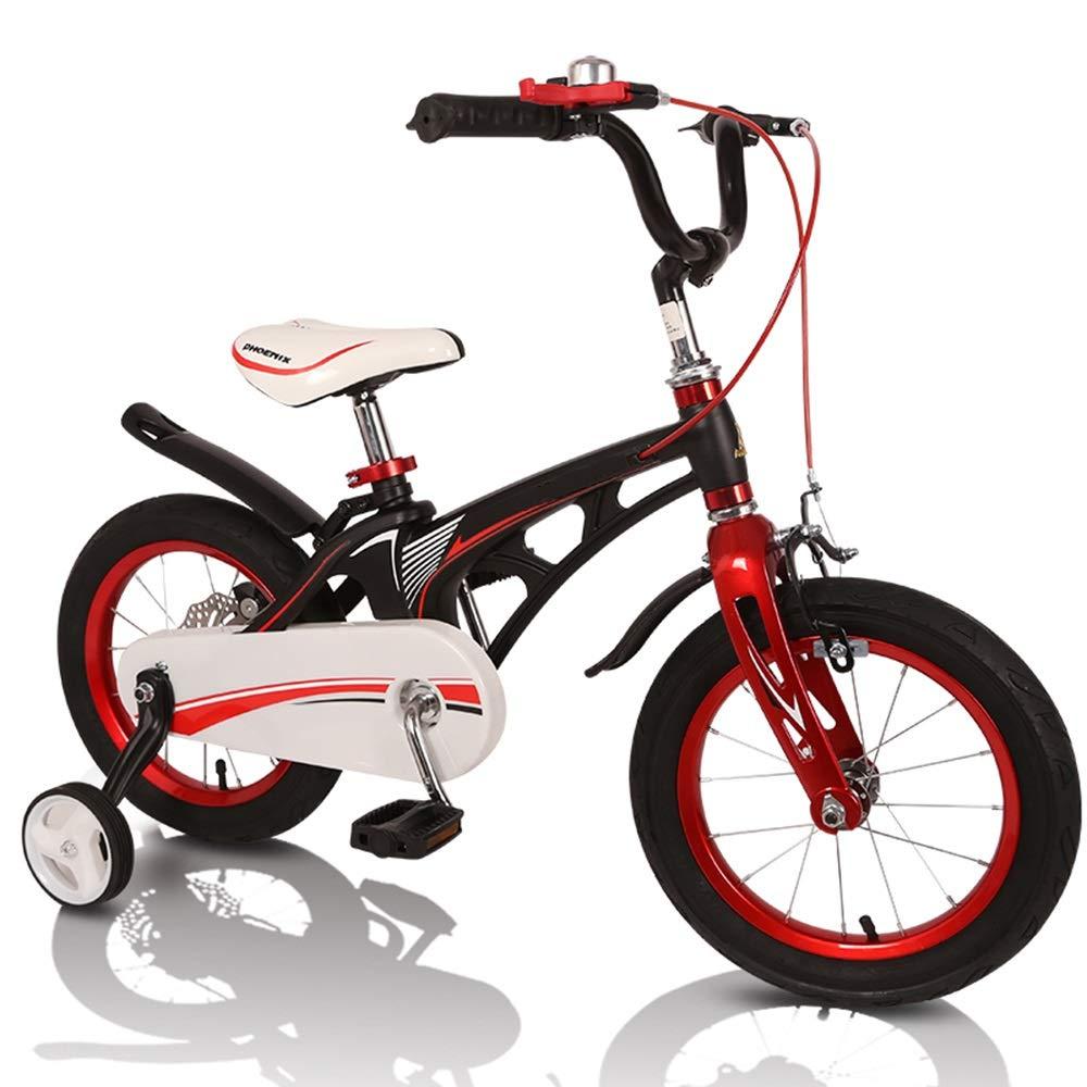 Axdwfd 子ども用自転車 キッズバイク、トレーニングホイール付き子供用自転車12/14/16インチ男の子と女の子用サイクリング、子供に最適Aged2-8黒白 14in 黒 B07PCSQKQL