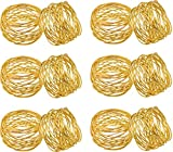 SKAVIJ Round Mesh Gold Decorations Napkin Rings Set of 12 for Weddings Dinner Parties or Every Day Use