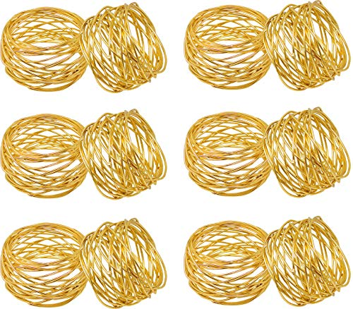 SKAVIJ Round Mesh Gold Christmas Decorations Napkin Rings Set of 12 for Weddings Dinner Parties or Every Day -