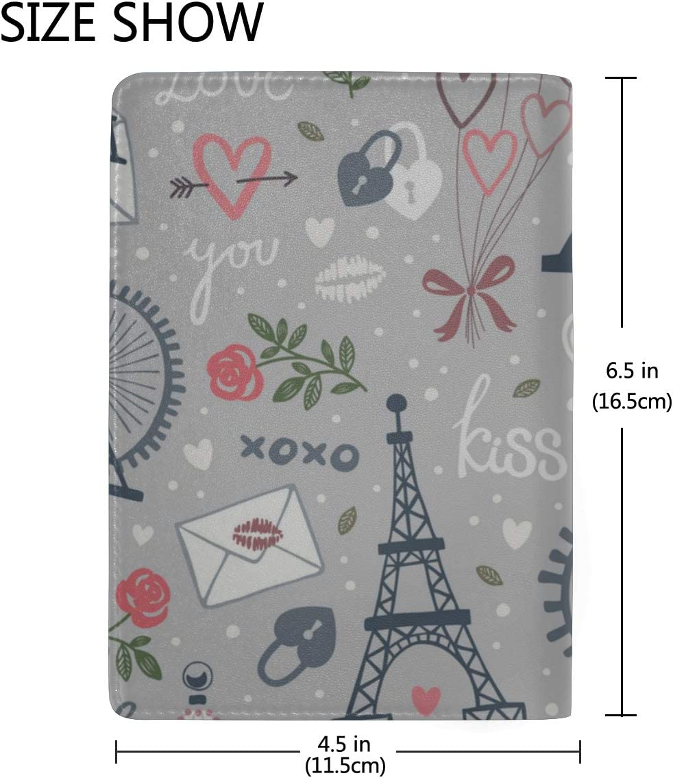 Travel Case Passport Holder Pink Colourful Eifel Tower Paris Stylish Pu Leather Travel Accessories Women Passport Case For Women Men