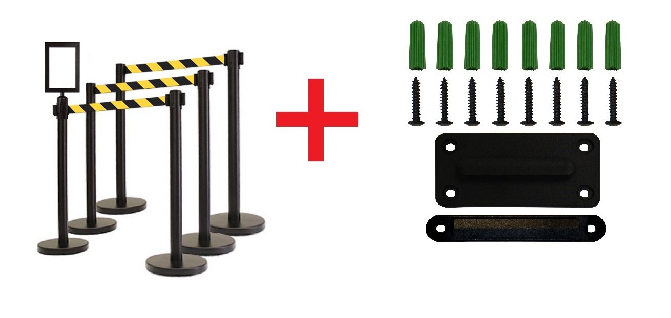 Retractable Stanchion, 6 Posts + Signframe, 36'' Ht, 78'' Black/Yellow Belt + Wall Bracket