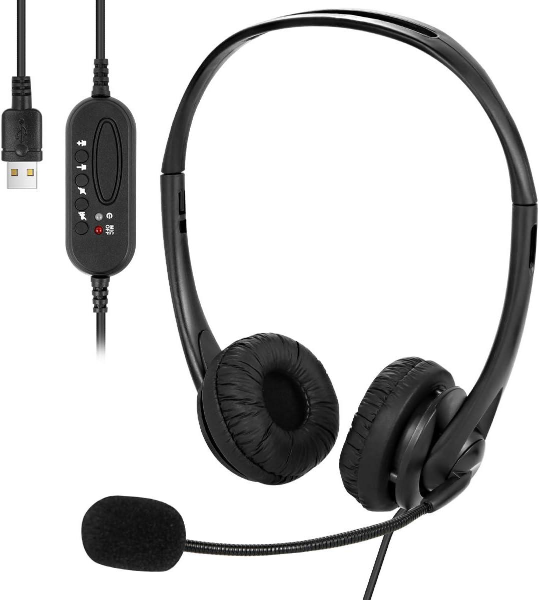 Cuffia Auricolare con Filo USB Cuffia Auricolare con Microfono per Nascondere Il Rumore Migliore per Telefono con Filo Desktop Portatile