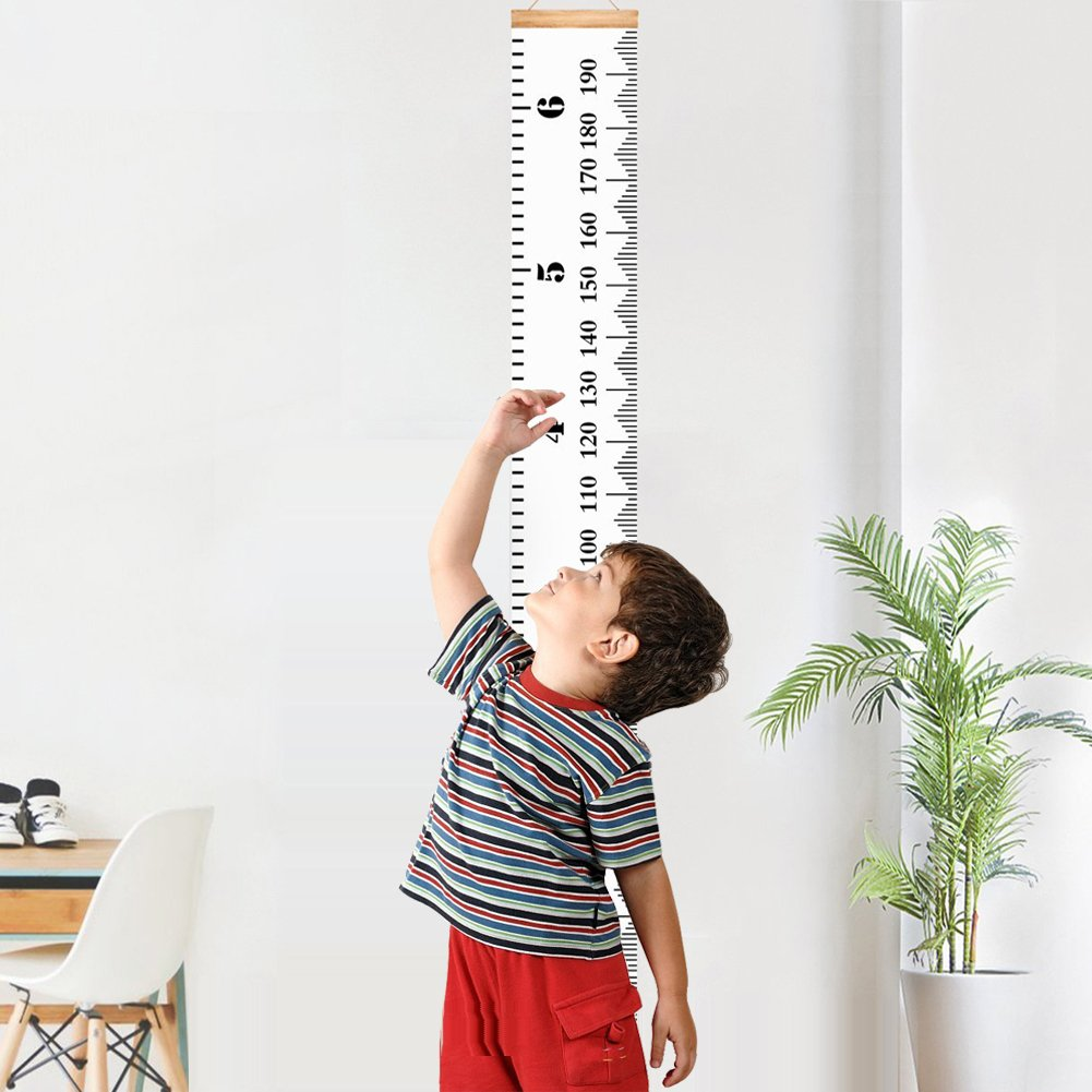 Wall Hanging Growth Chart, Wood Frame Height Measure Ruler Removable for Baby, Kids and Children Bedroom Nursery Room Decoration 7.9''x79'' (200*20cm) Ponangaga