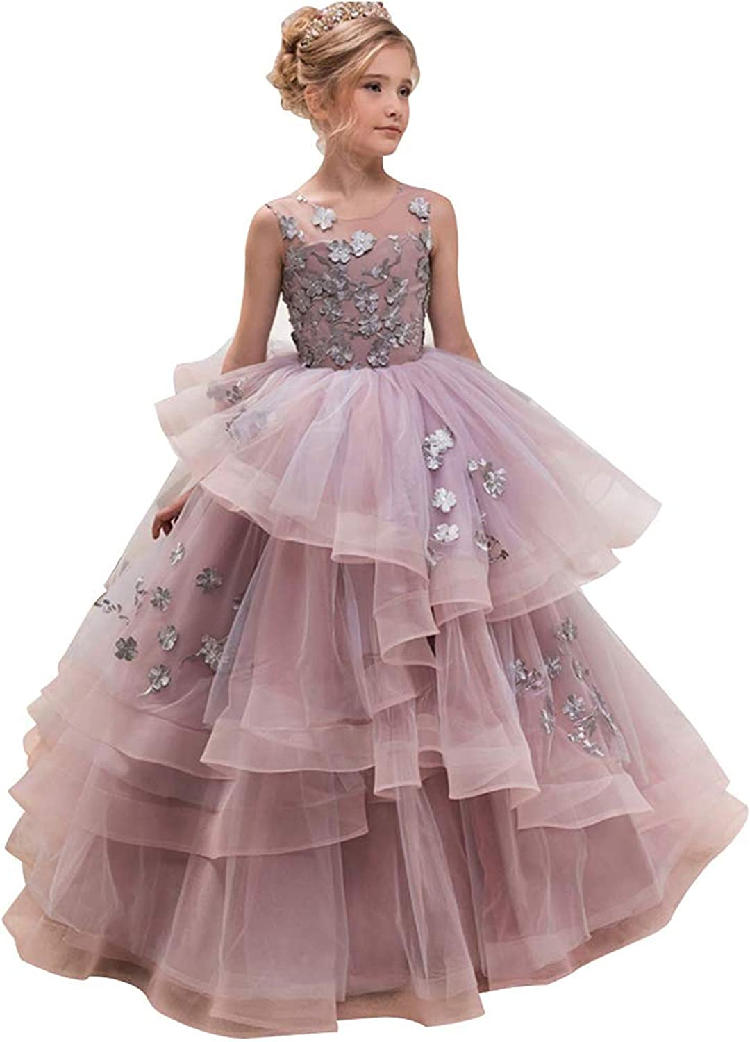 Amazon.com: WDE Princess Long Pageant Dresses Little Flower Girls
