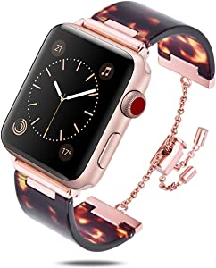 V-MORO Resin Bracelet Compatible with Apple Watch Band 38mm 40mm iWatch Series 4/3/2/1 with Stainless Steel Buckle Copper Replacement Wristband Strap Women Men(Tortoise-Tone, 38mm(5.5''-8.26''))