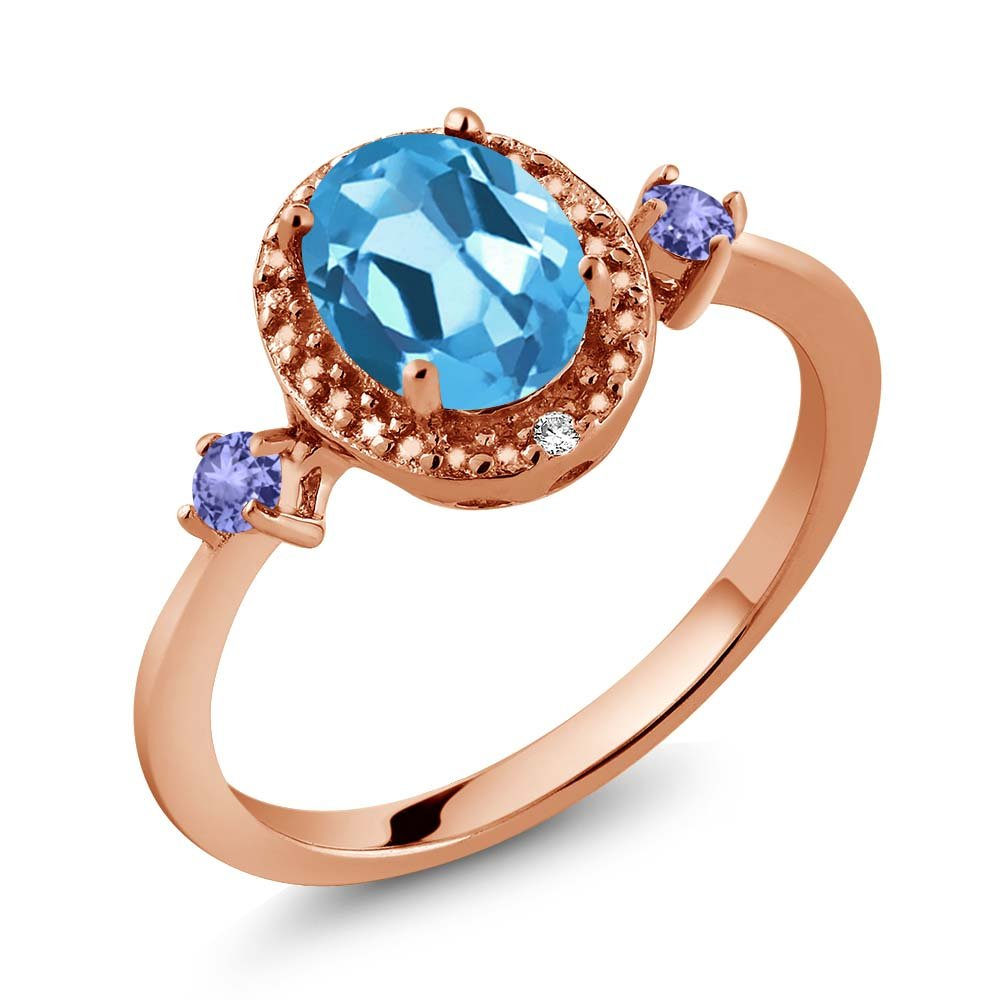 Gem Stone King 1.47 Ct Oval Swiss Blue Topaz Blue Tanzanite 18K Rose Gold Plated Silver Ring With Accent Diamond