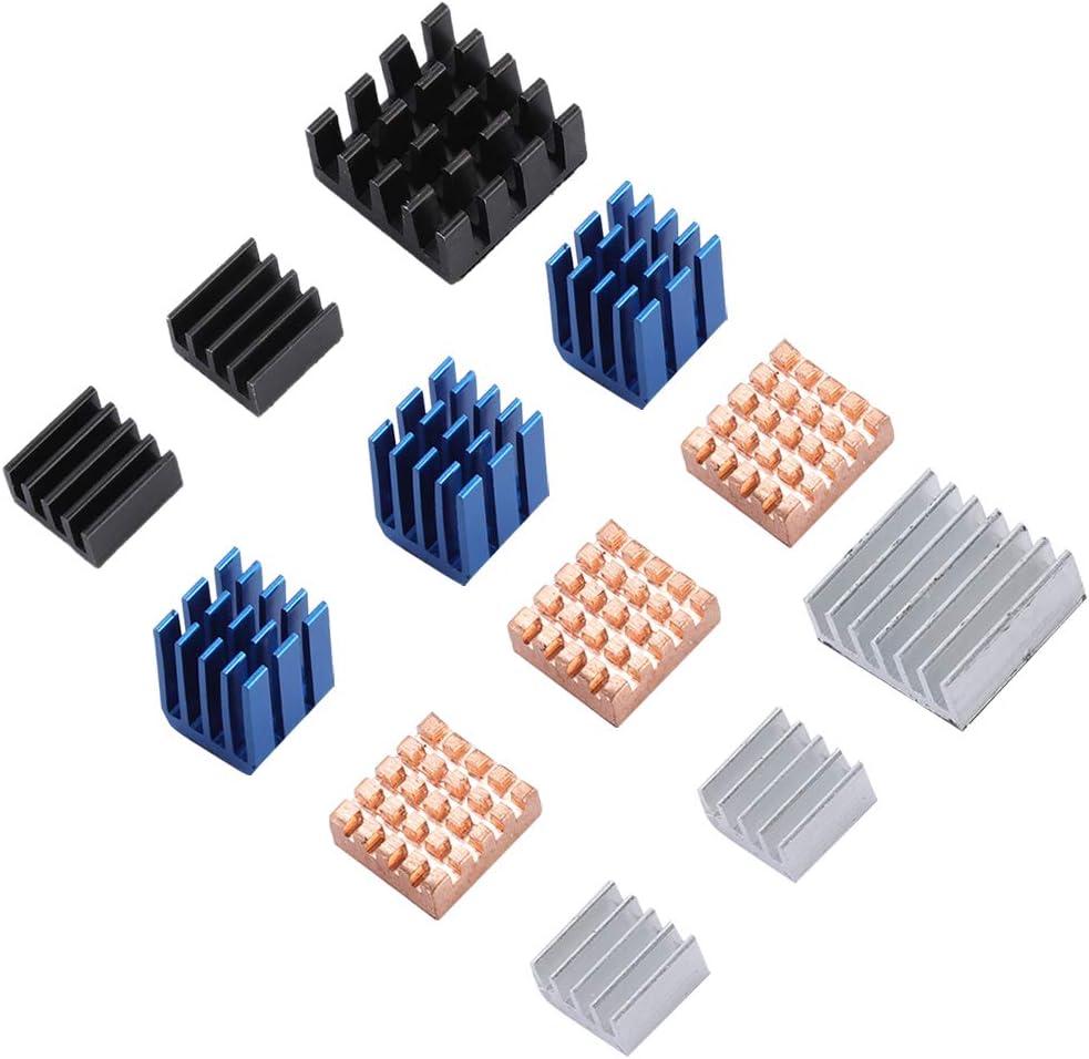 ASHATA Raspberry Pi 3 B Heatsink,12PCS for Raspberry Pi 3 Model B Aluminum and Copper Heatsink with Adhesive