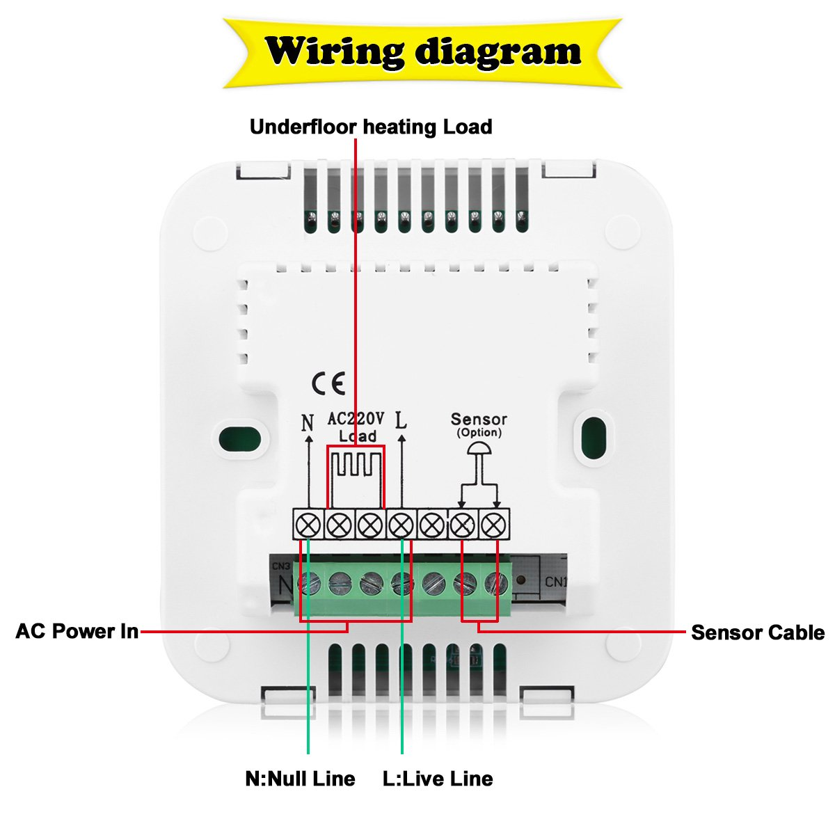 floureon heating thermostat lcd digital display backlight daily 6 on Wifi Thermostat Wiring Diagram for floureon heating thermostat lcd digital display backlight daily 6 stages weekly 5 2 6 1 7 programmable electric floor heating thermostat underfloor at Electric Water Heater Thermostat Diagram
