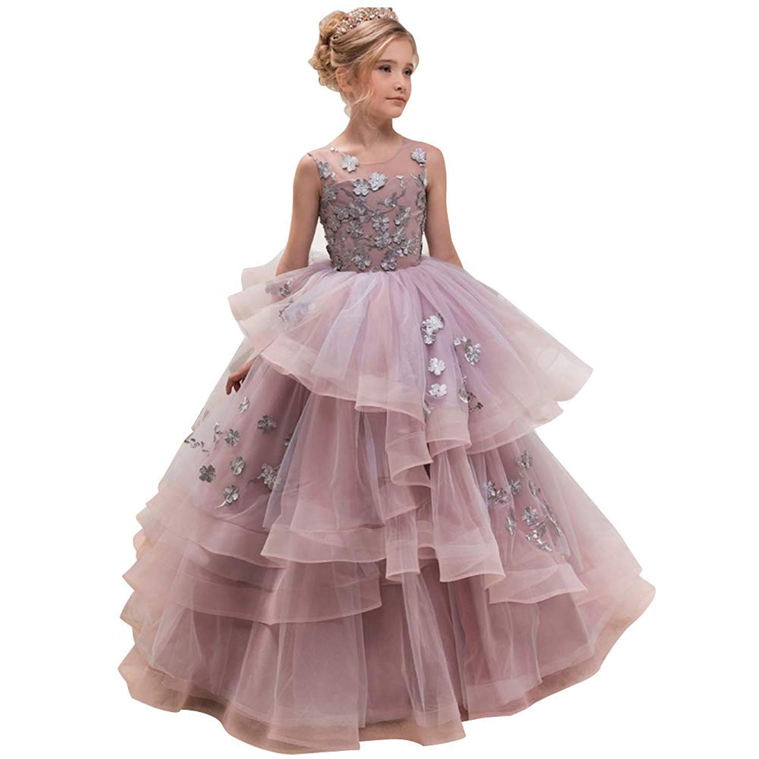 f8300f0c9586 WDE Princess Long Pageant Dresses Little Flower Girls Kids Ball Gown Prom  Party Size 6