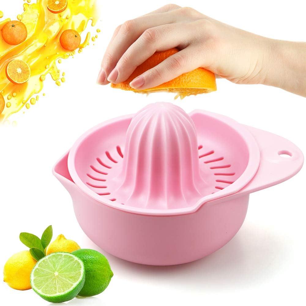Lemon juicer, Manual Juicers, Lemon Citrus,Orange Hand Squeezer Rotation Press, Fruit Juicer Lime Press, Dishwasher Safety,Pink