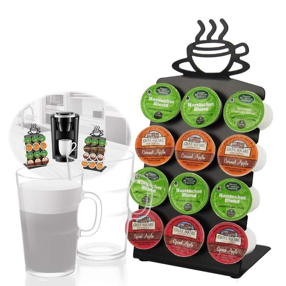 Texas Deluxe Gift Style K-Cup Display Steel Rack 12 Coffee Pods Holder with Anti-Skid Rubbers - Black by Texas Deluxe