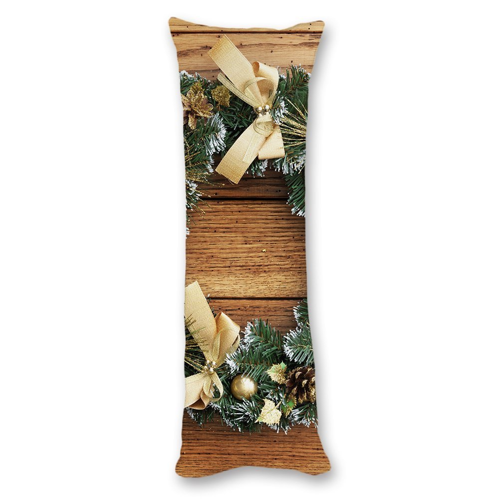 Ojngdafs Merry Christmas Decorations Wood Pattern Cotton Body Pillow Covers Cases With Double Sided 20''x54''