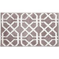 InterDesign Microfiber Trellis Rug, 34 x 21, Stone/White