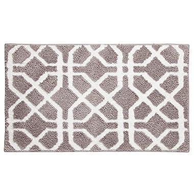InterDesign Microfiber Trellis Rug, 34 x 21 , Stone/White