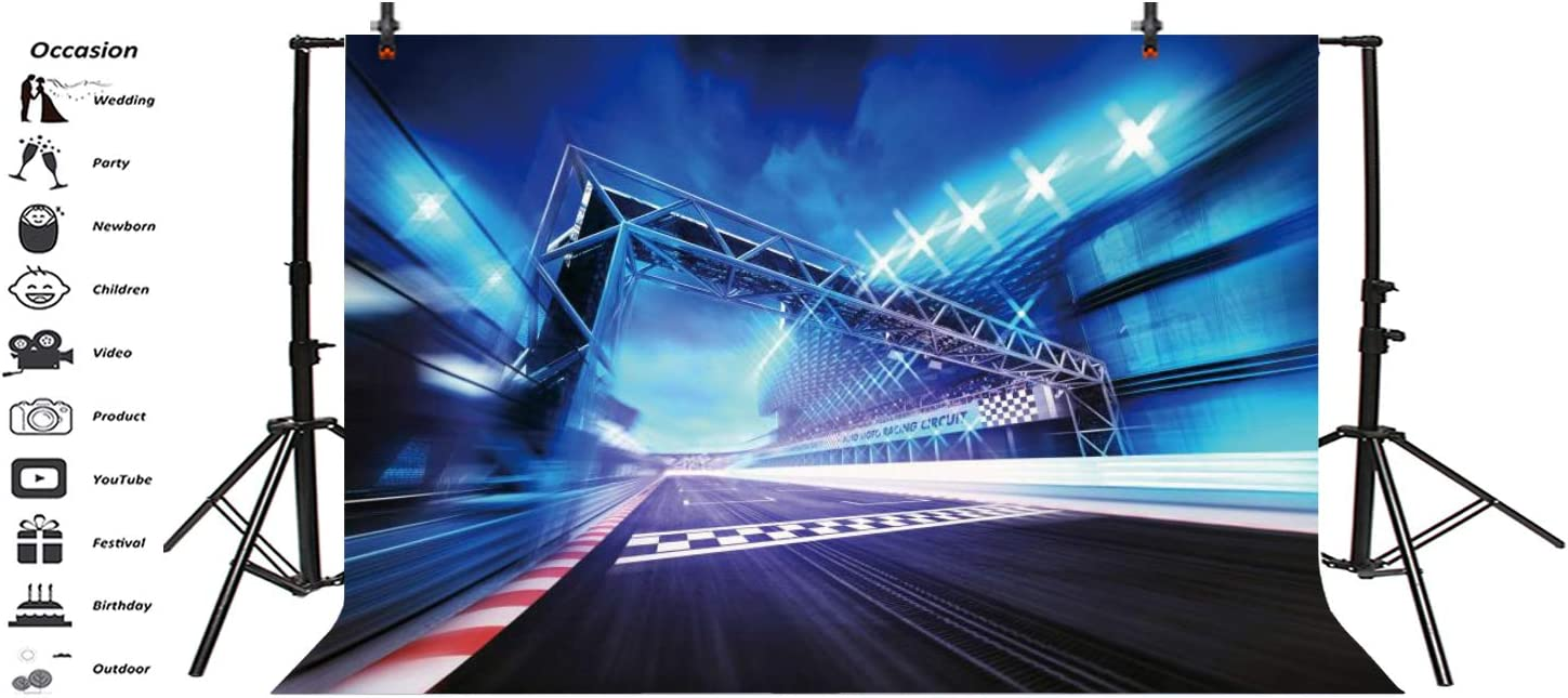 AOFOTO 7x5ft Racetrack Stadium Start Finish Gate Backdrop Spotlights in Motion Blur Motorsports Racecourse Speed Arena Competition Race Track Photography Background Cloth Photo Studio Props