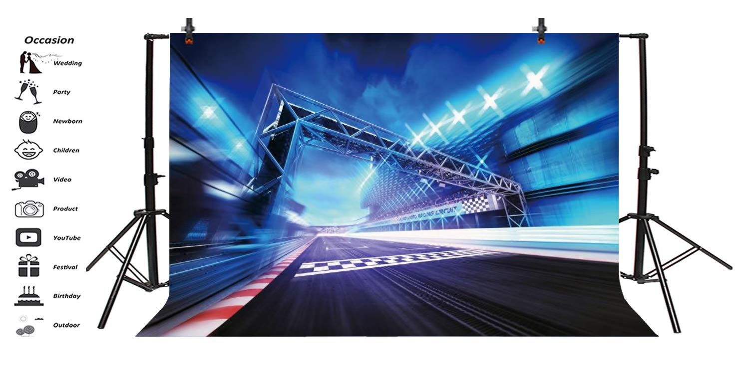 Aofoto 7x5ft Racetrack Stadium Start Finish Gate Circuit Board Graphic Design Grunge Stock Photos Backdrop Spotlights In Motion Blur Motorsports Racecourse Speed Arena Competition Race Track