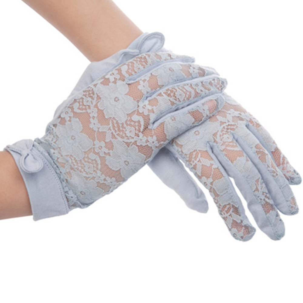 New Kenmont Summer Uv Protection 100% Cotton Lace Dress Sun Gloves One Size (Light Blue)