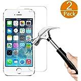 [2-Unidades] iPhone 5S 5 5C SE Protector de Pantalla, Y-ouni Cristal Templado iPhone 5 5S 5C SE, Espesor 0.30mm, 2.5D Round Edge, [9H Dureza] [3D Touch Compatibles] [Alta Transparencia] [Ultra Resistente a Golpes y Rayado] [Sin burbujas] [Ajuste Perfecto] [Garantía de por Vida] Protector Cristal Vidrio Templado para iPhone SE 5 5S 5C