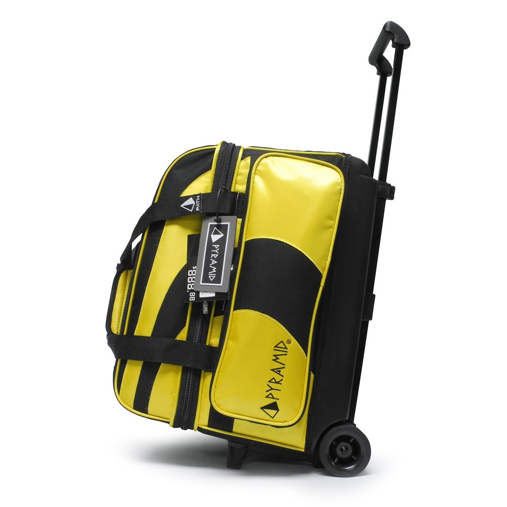 Pyramid Path Deluxe Double Roller Bowling Bag (Black/Gold)