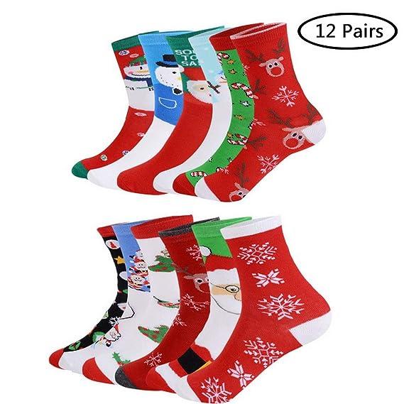 HIFUAR Calcetines de Navidad para Mujeres, Pack de 6 Pares Calcetines Medias de Algodón de Mujer Calcetines Térmicos Largos de Estilo Navideño Regalos para ...