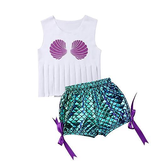 5db99b8c24d0 Newborn Baby Boy Girl Summer Clothes Sleeveless Tassel Tank Top T Shirt Vest  + Mermaid Fish