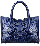 PIJUSHI Floral Handbags For Women Designer Handbag Top Handle Shoulder Bags For Ladies (91776 Dark Blue)