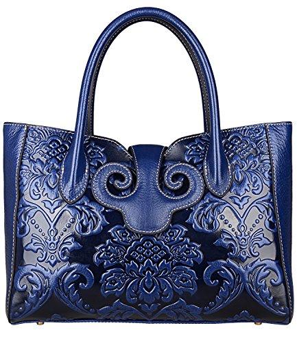 (PIJUSHI Floral Handbags For Women Designer Handbag Top Handle Shoulder Bags For Ladies (91776 Dark Blue) )