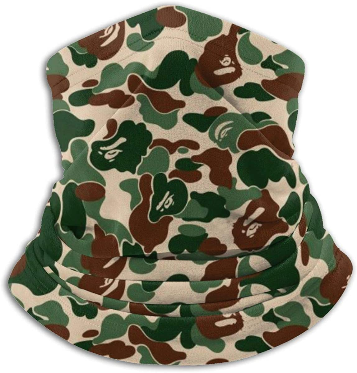 Bape Camo Green Microfiber Neck Warmer,Sports Face Guards,Windproof Dust Proof Mouth Face Mask Magic Scarf Balaclava