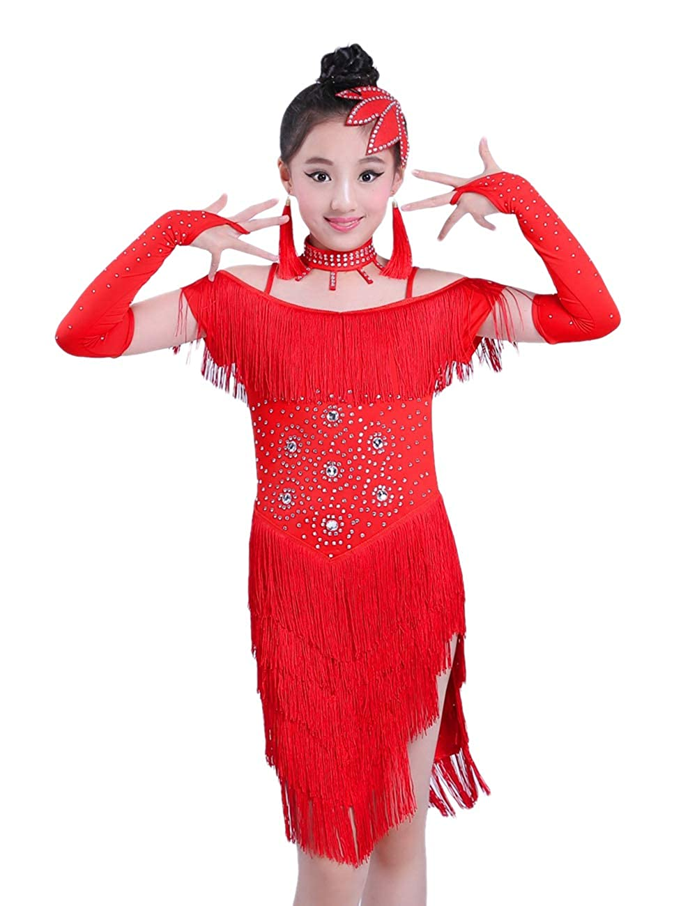 Zhhlinyuan Tassel Sequins Latin Dress - Kids Girls Dancer Competition Dresses