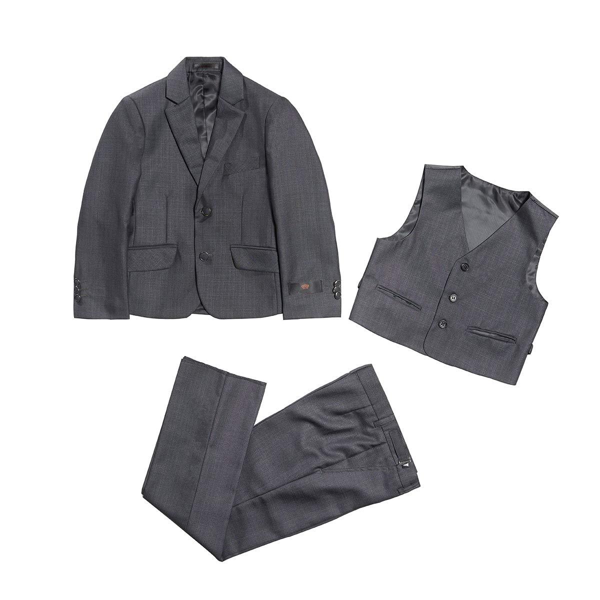 Boys 3 Piece Gray Wedding Formal Suit Jacket Blazer Pants