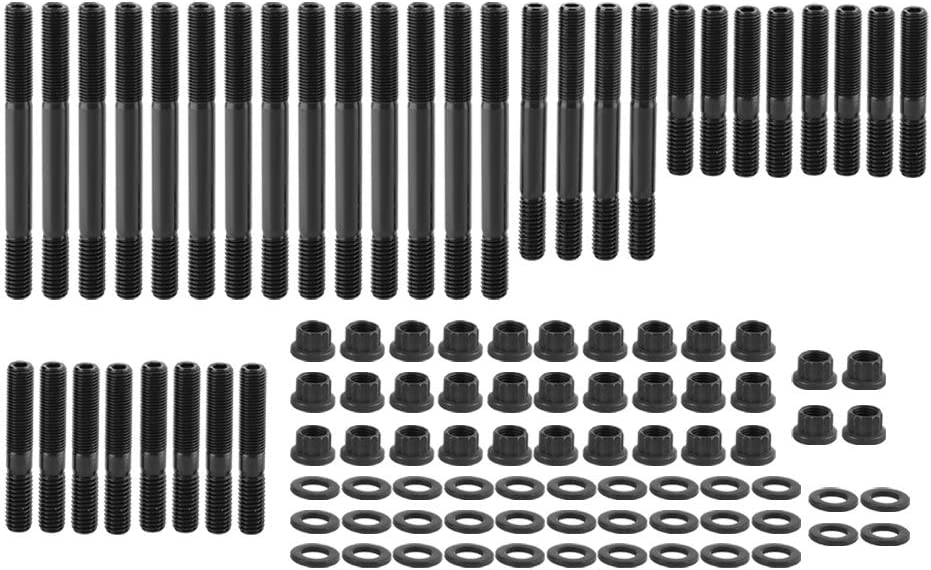 Qiilu Car Engine Head Studs Nuts Kit Fit for Chevy SBC PCE279.1001