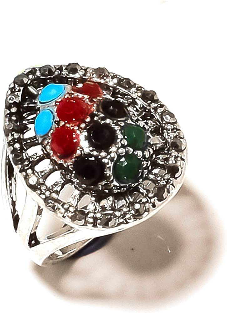 Fancy Multi-Stone Oxidized Sterling Silver Overlay Ring Size 7.5 US Marka Design