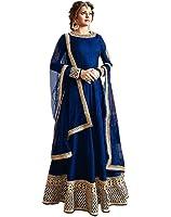 Active Women's Crepe Silk Anarkali Salwar Suit (Free Size_Blue)