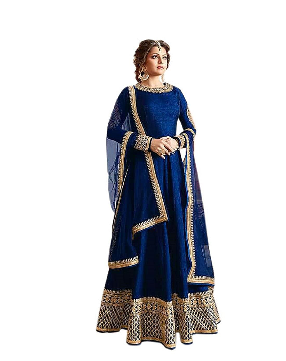 9a6f5d9ee01 Active Feel Free Life Women s Banglori silk Anarkali Suit (SSVI2181-OLL1   Blue  Free Size)  Amazon.in  Clothing   Accessories