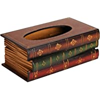 Retro Wooden Book Shaped Painted Tissue Box Napkin Holder Organizer Home Decoration(Coffee) Suitable for home