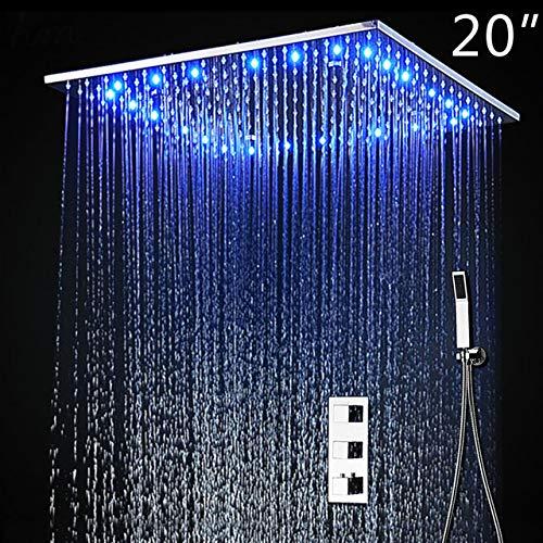 隠しサーモスタットシャワーセットSUS304ミラー仕上げパネル付き20インチ埋め込み型天井LEDシャワーヘッド降雨ミスト