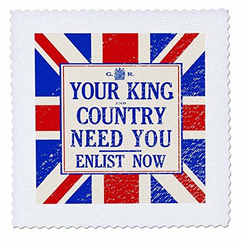 3dRose Your King and Country Need You Vintage WW1 Recruitment Poster - Quilt Square, 12 by 12-Inch (qs_219374_4)