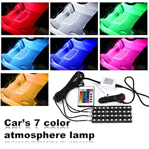 Car LED Strip Lights, Smiful Car Interior LED Kit 12V 4X9LED 7 Color Car Under Dash Lights Wireless Remote Control Auto Inside Atmosphere LED (Auto Lighting)