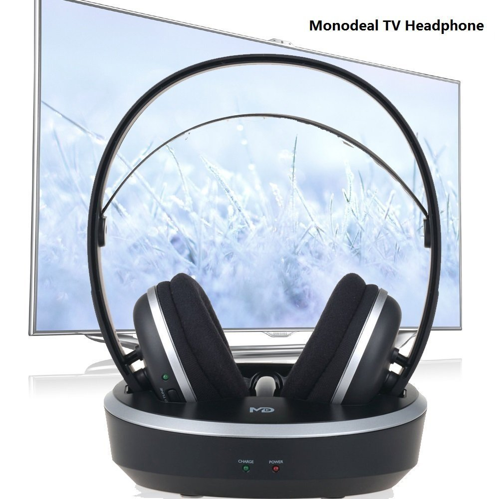 Wireless Universal TV Headphones, Monodeal Over-Ear Stereo RF Headphones with Charging Dock, Low Latency Volume Adjustable for Gaming TV PC Mobile, 25hr Battery Sound -1 Year Warranty by MONODEAL (Image #2)