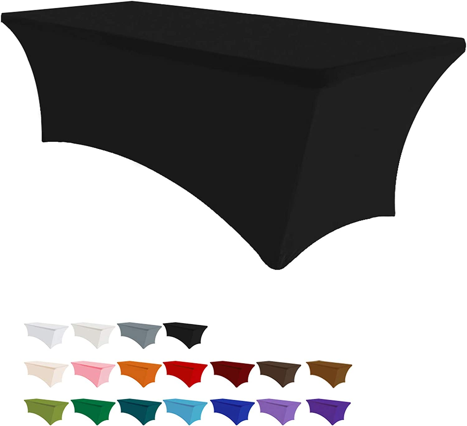 Eurmax 5Ft Rectangular Fitted Spandex Tablecloths Wedding Party Table Covers Event Stretchable Tablecloth (Black): Kitchen & Dining