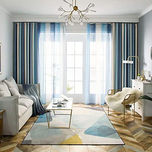 Leadtimes Mediterranean Stripe Curtains Linen Look Bedroom Colorful Decorative Blackout Drape