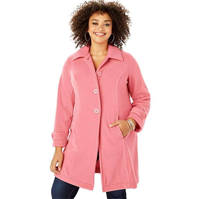 a911d69fdf6 Roamans Women s Plus Size Plush Fleece Jacket at Amazon Women s Coats Shop