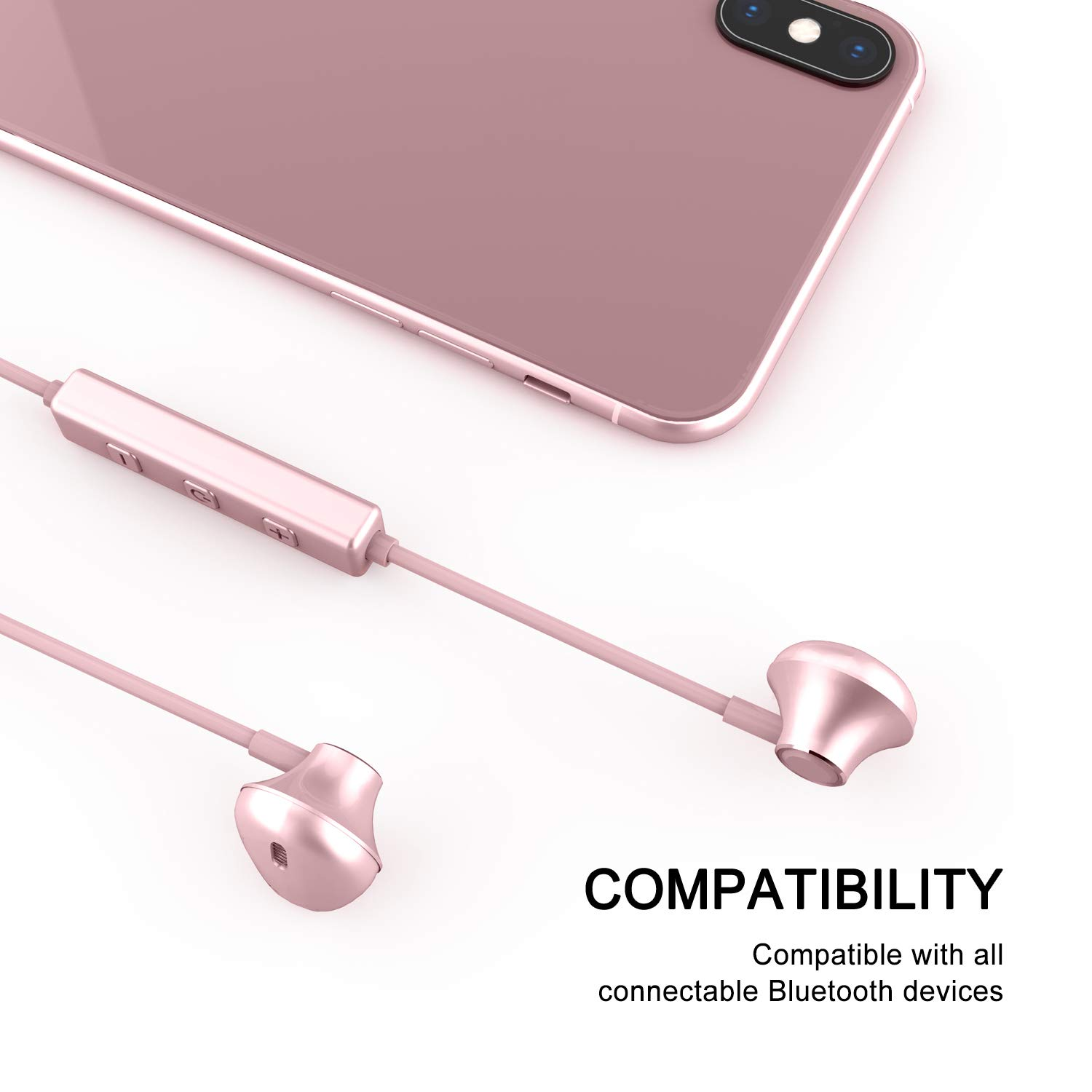 Bluetooth Headphones, Yostyle Magnetic Wireless Earbuds Bluetooth 5.0 Noise Canceling Earphones Sweatproof Sport Headset w/Mic for iPhone X/XR/XS/8/7/6 Plus, Galaxy S9/S8,10 Hrs Work Time(Rose Gold)