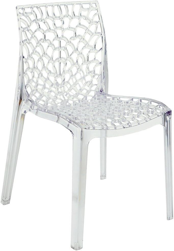 Grandsoleil upon Gruvyer trasparente sedia impilabile, policarbonato, trasparente, 51 x 52 x 81 cm
